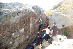 Rock Climbing Photo: Diana firing the traverse
