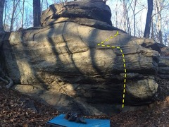 Picture of the front face of the boulder.