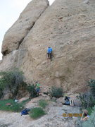 Rock Climbing Photo: Leaving the etriers and pulling the 1st free moves...