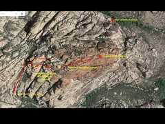 A satellite view of the descent according to Handren guidebook. Took us 3 hours summit to car, but only required one rappel at the very end. Budget 1 - 1.5 hrs of sunglight to find the gully (after crossing the saddle) after which a headlamp descent is OK.