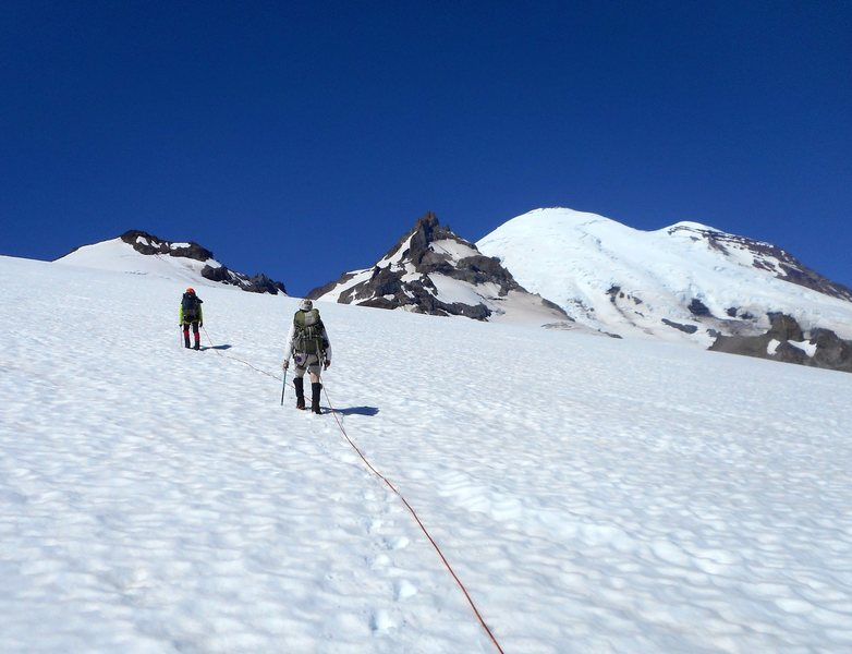 Crossing the Frying Pan Glacier enroute to Little Tahoma.