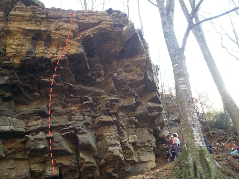 Rock Climbing Photo: Wide angle of the route (unsure of exact location)...