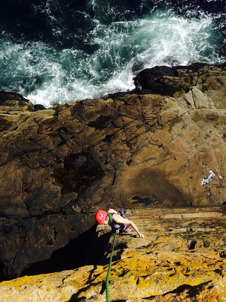 Rock Climbing Photo: Great atmosphere with the ocean in the background!