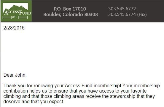 Access Fund - Thank You