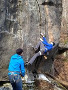 Rock Climbing Photo: Abbott, Laying back hard to get off the ground. No...