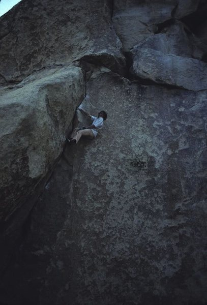 Yabo soloing Spider Line.<br> <br> Photo by John Bachar.