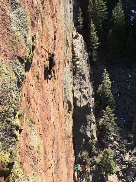 Rock Climbing Photo: Kevin approaching the upper roofs on his suss burn...