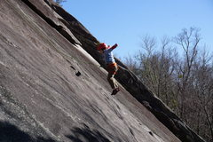 Rock Climbing Photo: 5 yo jumping for joy on his first route at Stone