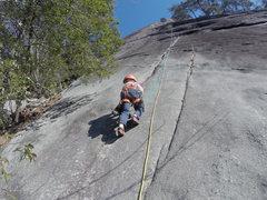 Rock Climbing Photo: 5 yo starting his first multipitch