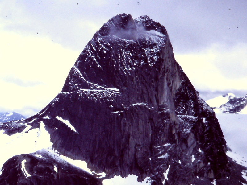 Bugaboo with (North) East Ridge in profile and North Face (taken from the Vowell Group in 1982)