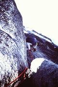 "Rock Climbing Photo: MJ Cross ""scrunches"" along the crux (5.4..."