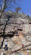 Rock Climbing Photo: Making a long reach. This felt stiff for a 5.9
