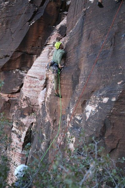 My boyfriend leading a route at red rocks.