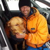 A soggy Bones after breaking through the ice on the Lowe River and a close call preping for Ice Fest