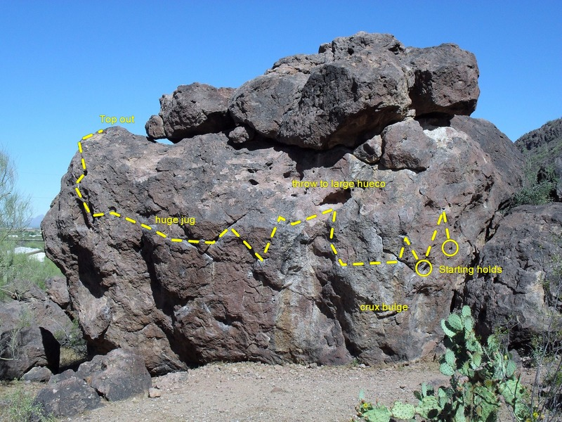 Rock Climbing Photo: South Face of main boulder showing Long Traverse r...