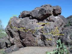 Rock Climbing Photo: South Face of main boulder showing Long Traverse r...