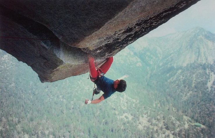 Randy Leavitt on the Paisano Overhang (5.12c), Suicide Rock<br> <br> Photo by Karin Leavitt (1985)