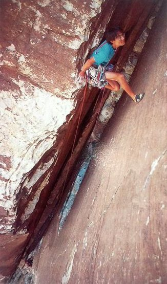 Hidetaka Suzuki just below the wide crux on Epinephrine (5.9), Red Rock<br> <br> Photo by Dan McQuade