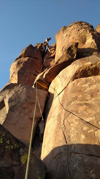 Interesting moves but decent placements for gear make this a fun and enjoyable route.