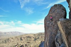 Rock Climbing Photo: Leah leading up Hans Solo.  Very happy with the bo...