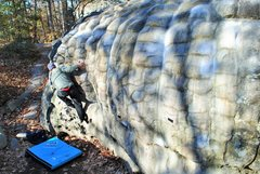 Rock Climbing Photo: Rusty figuring out the sequence.
