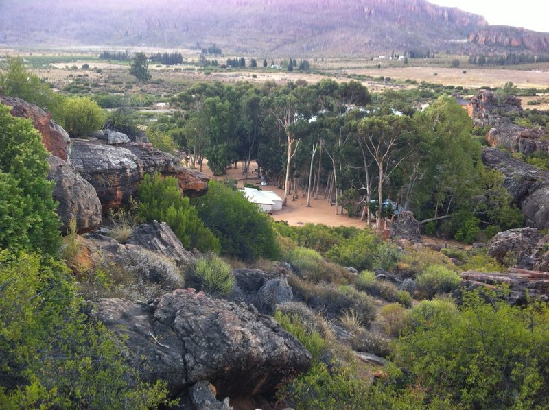 Looking back down on the De Pakhuys campground from the Roadkill Cafe area
