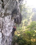 Rock Climbing Photo: Jack Appleby on the first ascent. Heading through ...