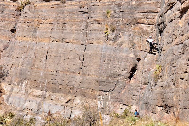 Rock Climbing Photo: Climbing Two Face with much of the Villain Wall vi...
