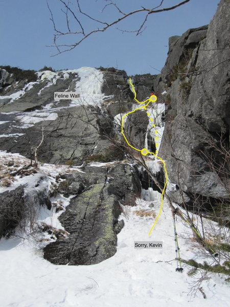 Rock Climbing Photo: Route, as seen from the base Feb 28, 2016.