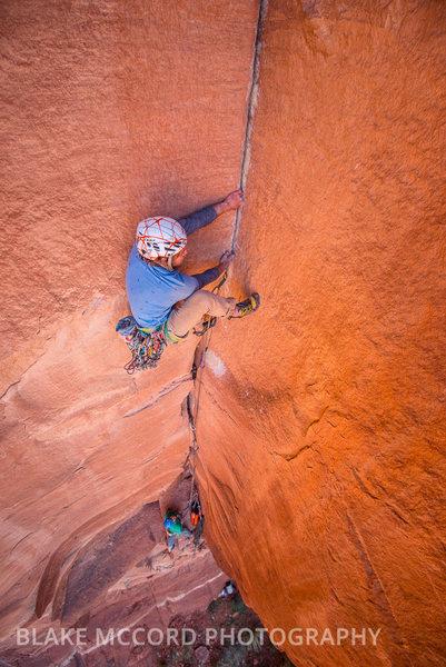 Rock Climbing Photo: Jeff Snyder on pitch 2  www.blakemccordphoto.com