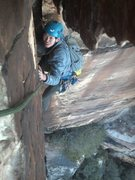 Rock Climbing Photo: Committed to the exposed reach across moves ending...