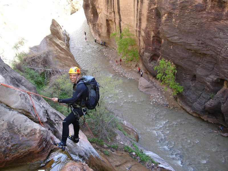 Rock Climbing Photo: Last rappel, Mystery Canyon.