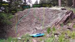 Rock Climbing Photo: Tasty Slab, full view.  Spam, V0. Prime Cut, V3. M...