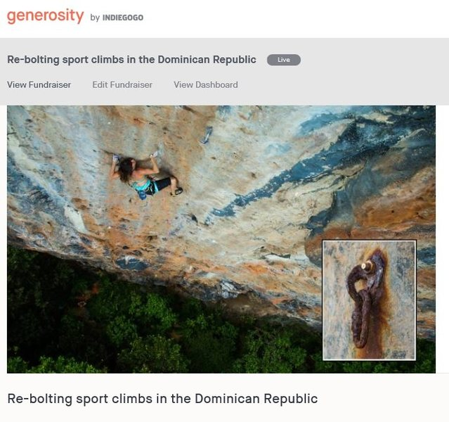 Rock Climbing Photo: Re-bolting at Playa Fronton