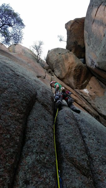 Michael Pang on the first ascent of Zen Plum, a friendly hand crack.