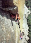 Rock Climbing Photo: Steve Schneider on pitch 13 (5.12d) of Excalibur, ...