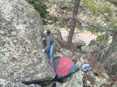 Rock Climbing Photo: Brett crushing hard.