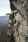 Rock Climbing Photo: Unknown strong dude making the last moves on Thin ...