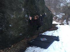 Rock Climbing Photo: Pic on Sweat of the Rapist V10