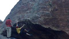 Rock Climbing Photo: Decent hold above overhang brim.