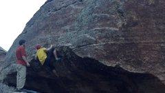 Rock Climbing Photo: Little crimp of doom... crux 1.