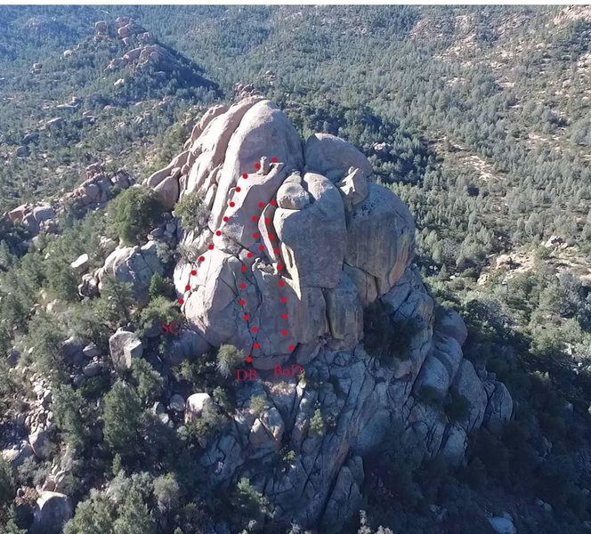 Stewart Peak's East Face routes: Blade of Damascus, Dueling Bugles, South Crack