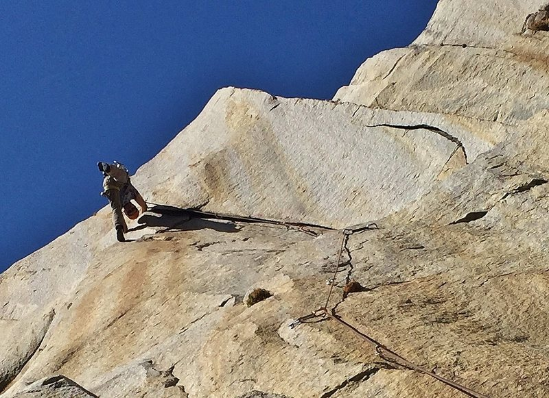Rock Climbing Photo: Thank god holds after the steep leaning crack and ...