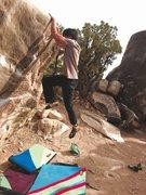 Rock Climbing Photo: Michael Madsen cutting feet on Bad Genes