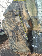 Start on the obvious leftward trending flake sitting on side pulls with feet out right. Move up the flake to jug then top and top out. I highlight the holds in yellow.