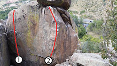 Rock Climbing Photo: 1: Southwest Slots.  2: Southeast Arete.