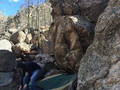 Rock Climbing Photo: Beta photo. Mantelmania is the boulder to the righ...