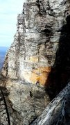 Rock Climbing Photo: Me going for the onsite on beautiful pitch 2. Dave...