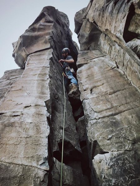 Rock Climbing Photo: Placing pro...
