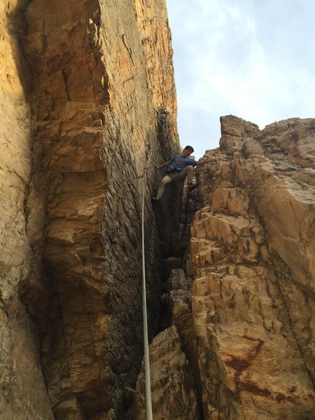 Rock Climbing Photo: Stemming to the third bolt because the face is bar...